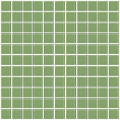"1"" x 1"" Glass Mosaic Tile in Light Sage Soft Green"