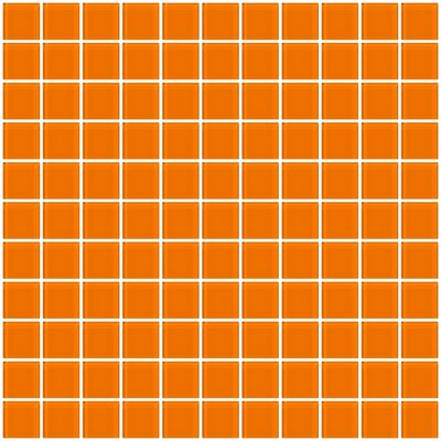 "1"" x 1"" Glass Mosaic Tile in Glossy Orange"