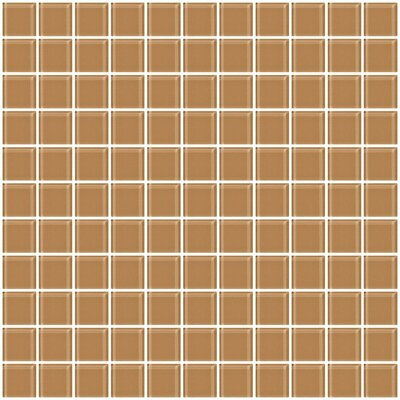 "1"" x 1"" Glass Mosaic Tile in Mushroom Brown"