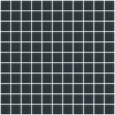 "1"" x 1"" Glass Mosiac Tile in Dark Gray (Set of 2)"