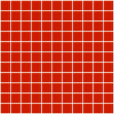 """1"""" x 1"""" Glass Mosaic Tile in Tomato Red"""