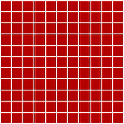 """1"""" x 1"""" Glass Mosaic Tile in Deep Tomato Red"""