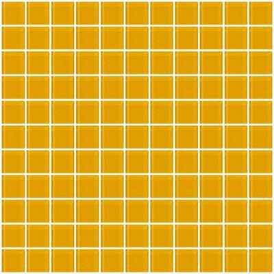 "1"" x 1"" Glass Mosaic Tile in Dark Yellow"