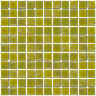 """Architect's Overstock Iridescent 1"""" x 1"""" Glass Mosaic Tile in Chartreuse"""