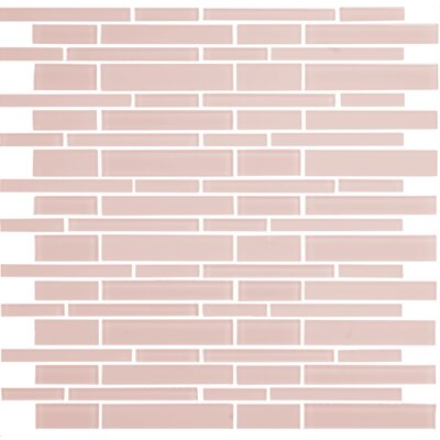 """12"""" x 12"""" Mosaic Glass Subway Tile in Glossy Pink"""