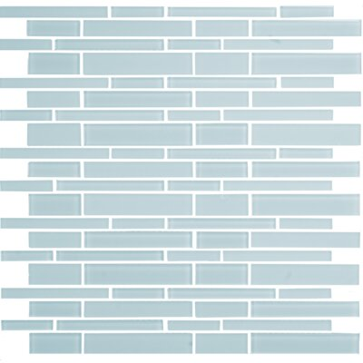 """12"""" x 12"""" Mosaic Glass Subway Tile in Glossy Blue"""