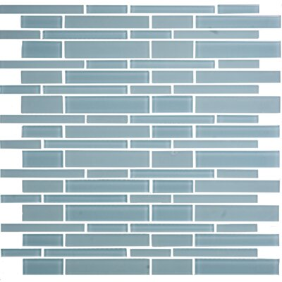 """12"""" x 12"""" Mosaic Glass Subway Tile in Teal Green"""