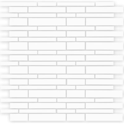 """12"""" x 12"""" Mosaic Glass Subway Tile in White"""