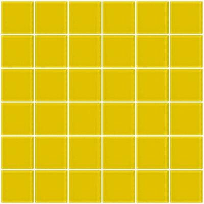 "Bijou 22 2"" x 2"" Glass Mosaic Tile in Bright Yellow"