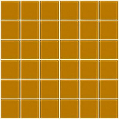 """Bijou 22 2"""" x 2"""" Glass Mosaic Tile in Caramel Brown"""