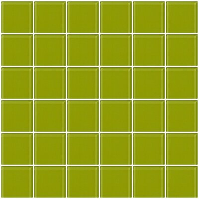 "Bijou 22 2"" x 2"" Glass Mosaic Tile in Lime Green"