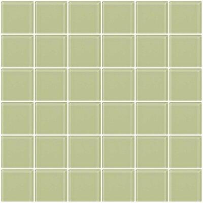"Bijou 22 2"" x 2"" Glass Mosaic Tile in Light Celery Green"