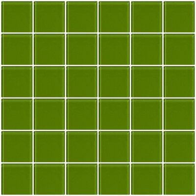 "Bijou 22 2"" x 2"" Glass Mosaic Tile in Dark Lime Green"
