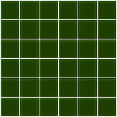 "Bijou 22 2"" x 2"" Glass Mosaic Tile in Medium Dark Green"