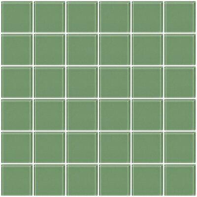 """Bijou 22 2"""" x 2"""" Glass Mosaic Tile in Light Sage Green"""