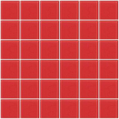 "Bijou 22 2"" x 2"" Glass Mosaic Tile in Watermelon Pink"