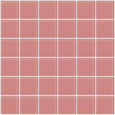 """Bijou 22 2"""" x 2"""" Glass Mosaic Tile in Pink"""