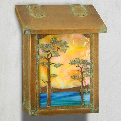 Monterey Wall Mounted Mailbox Glass Color: Champagne, Finish: Old Penny