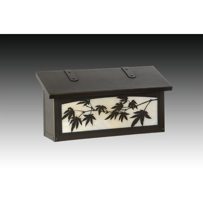 Japanese Maple Wall Mounted Mailbox Finish: Warm Brass, Glass Color: Wispy White