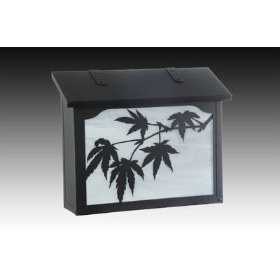 Japanese Maple Wall Mounted Mailbox Finish: Textured Black, Glass Color: Wispy White