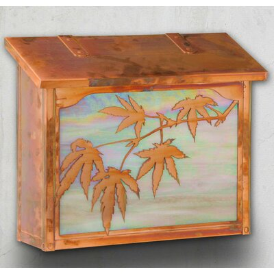 Japanese Maple Wall Mounted Mailbox Glass Color: Honey, Finish: New Verde