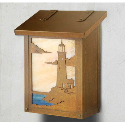 Coastal Cottage Wall Mounted Mailbox Finish: Old Penny, Glass Color: Champagne