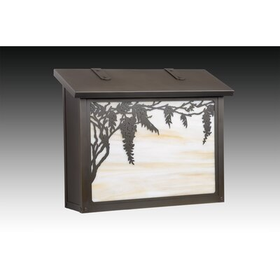 Wisteria Wall Mounted Mailbox Finish: Textured Black, Glass Color: Gold Iridescent