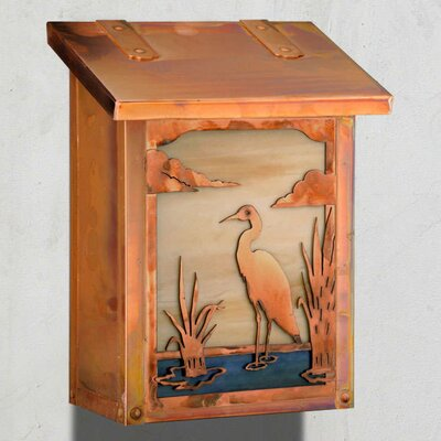 Heron Wall Mounted Mailbox Finish: New Verde, Glass Color: Gold Iridescent