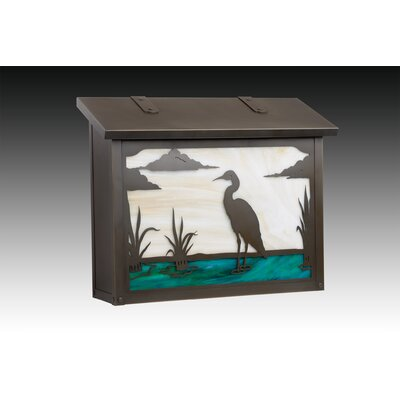 Heron Wall Mounted Mailbox Finish: Architectural Bronze, Glass Color: Gold Iridescent
