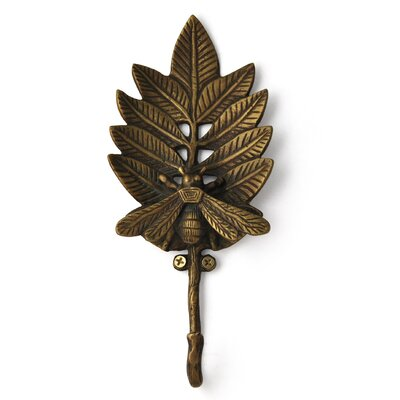 Bee on Leaf Cast Iron Coat or Key Hook