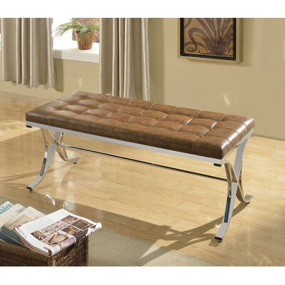 Leroy Upholstered Bench Upholstery Color: Brown