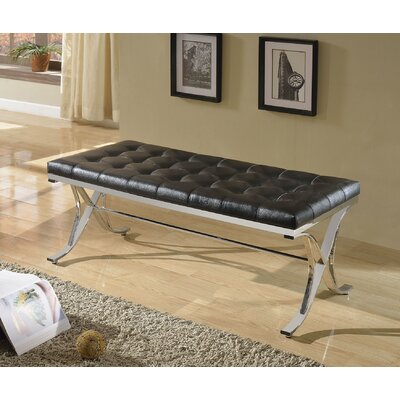 Leroy Upholstered Bench Upholstery Color: Black