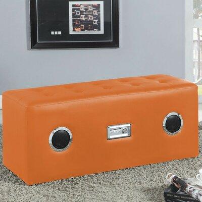 Amanda Upholstered Bench Color: Orange