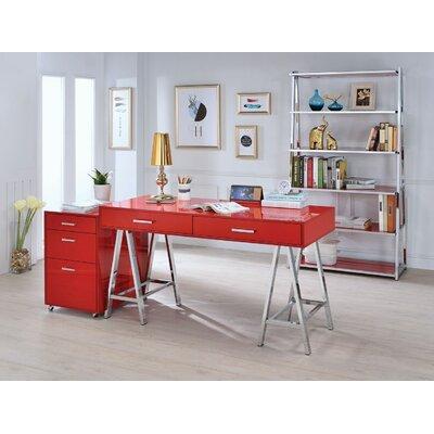 Kelemen 3-Drawer Mobile File Cabinet Color: Red