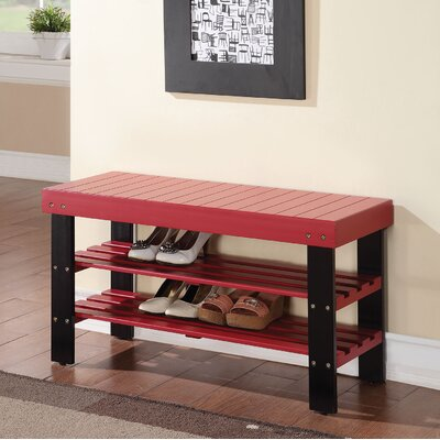 Baltasar Wood Bench Color: Red