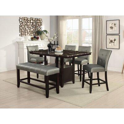 Upper Strode 6 Piece Dining Set Color: Silver