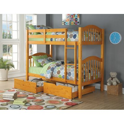 Englert Twin Bunk Bed with Drawers Color: Honey Oak