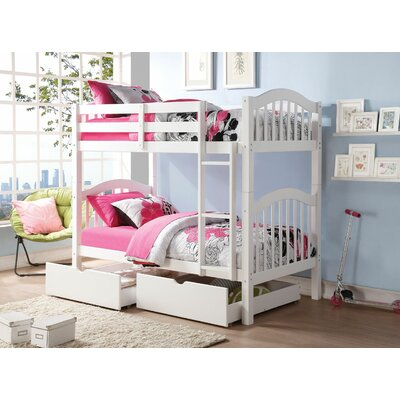 Englert Twin Bunk Bed with Drawers Color: White