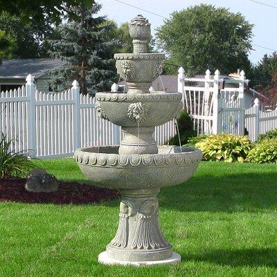 Fiberglass 4 Tier Lion Head Water Fountain