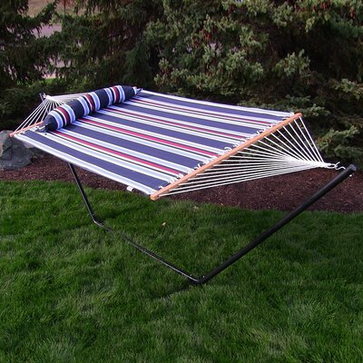 """Sites Double Tree Hammock with Stand Size: 48"""" H x 55"""" W x 156"""" D, Color: Nautical Stripe"""