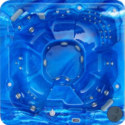 8-Person 88-Jet Spa with Stainless Jets and Waterfall Color: Summer Sapphire