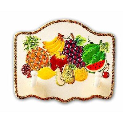 Fruit Paradise Ceramic Tropical Fruit 2 Hooks Wall Hanger