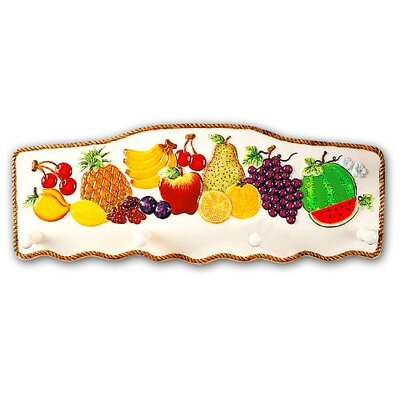Fruit Paradise Ceramic Tropical Fruit 4 Hook Wall Hanger