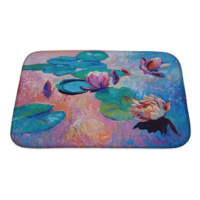 Art Alpha Original Abstract Oil Painting of Beautiful Water LiliesModern Impressionism Bath Rug Size: Small