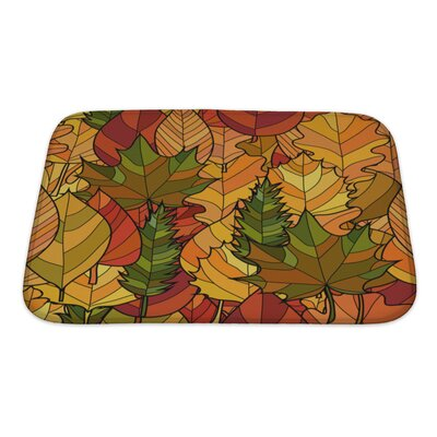 Leaves Abstract Doodle Autumn Leaves Pattern Bath Rug Size: Small
