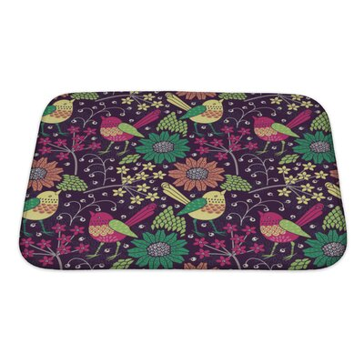 Gecko Floral Pattern Bath Rug Size: Small