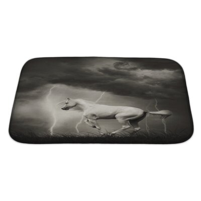Animals White Horse Under Thunder Sky with Lightning Bath Rug Size: Large