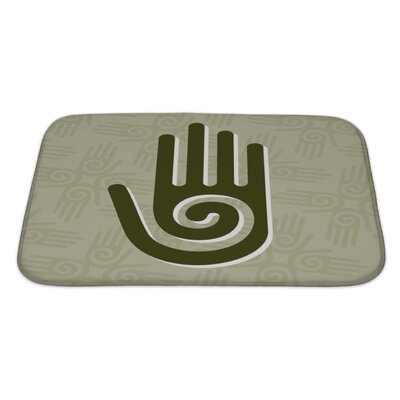 Human Touch Hand with a Spiral Symbol on the Palm Bath Rug Size: Large