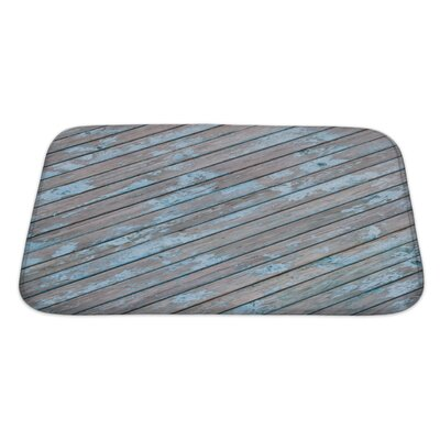 Wood Old Wooden Planks with Cracked Paint, Bath Rug Size: Large