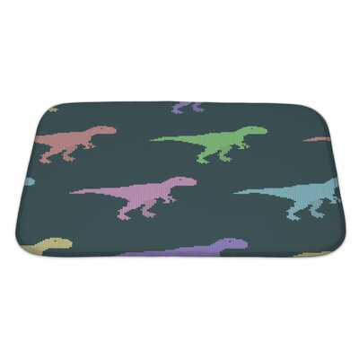 Dinosaurs Varicolored Pixel Dinosaurs Bath Rug Size: Large